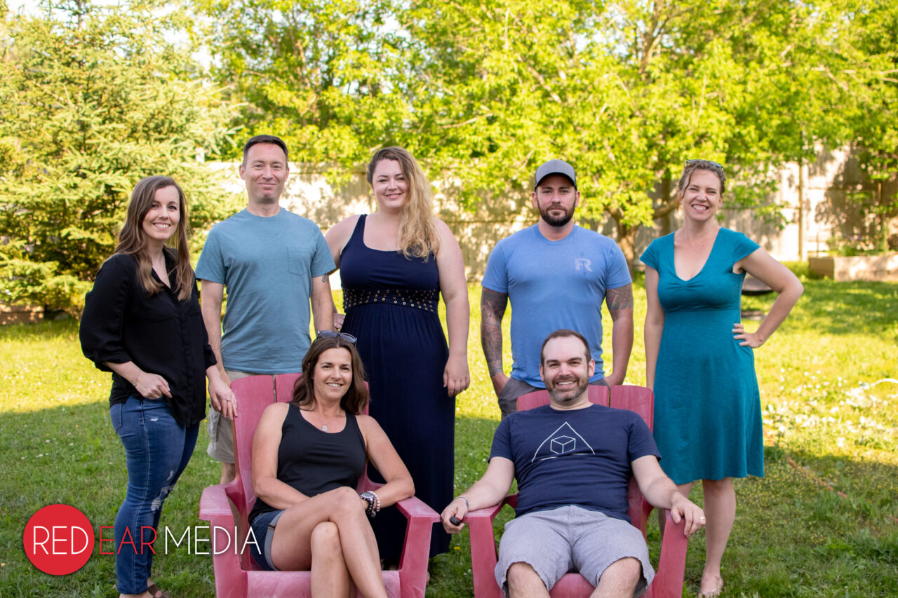 Group portrait of the Red Ear Media team